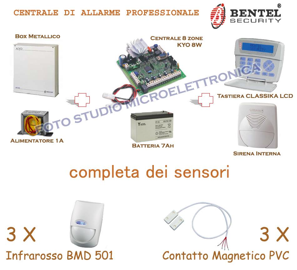Sistemi antifurto casa centrale allarme bentel kyo 8 filare in kit fai da te - Antifurto casa fai da te ...